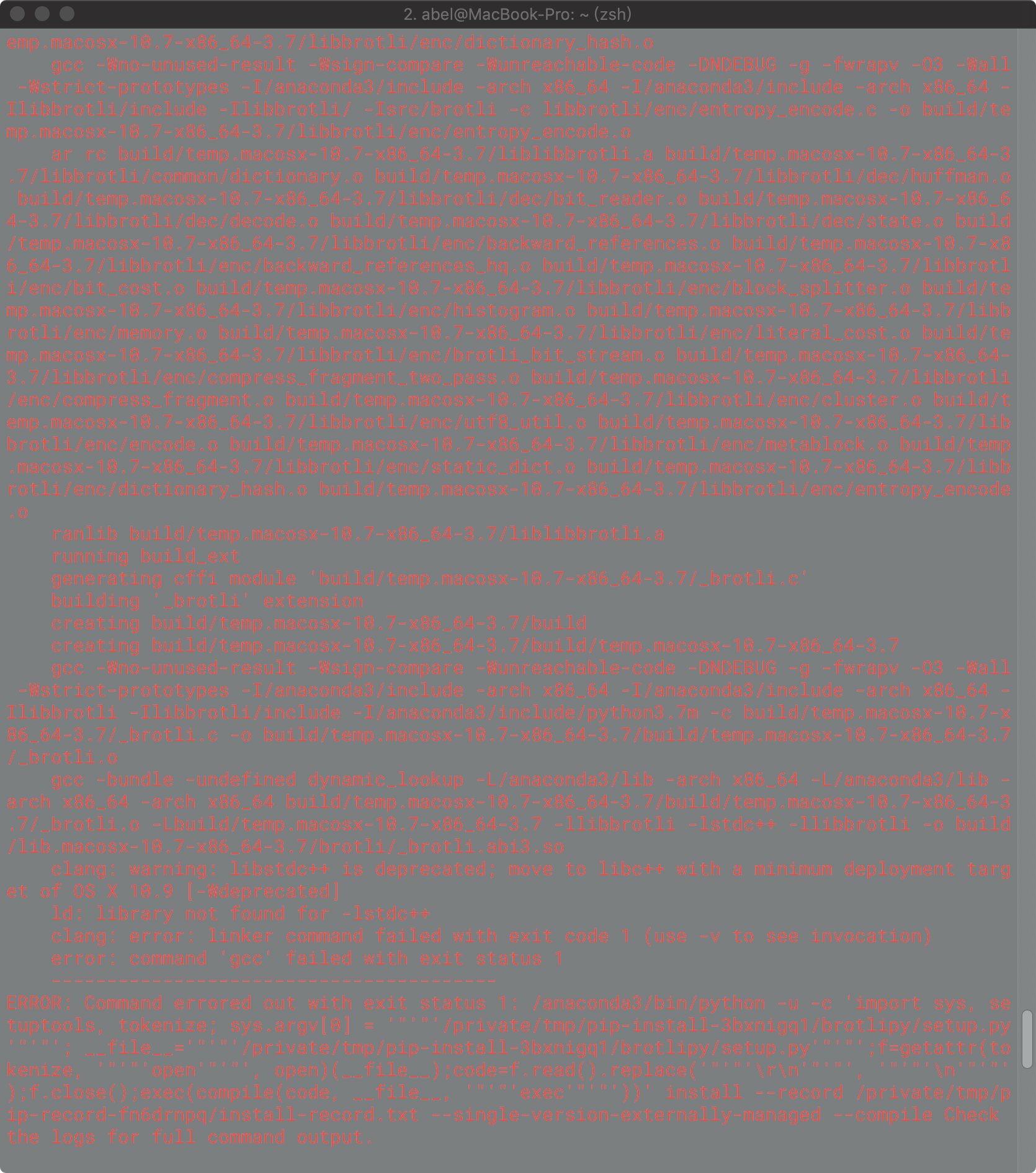 error: command 'gcc' failed with exit status 1 -Python3.7 MacOs Mojave